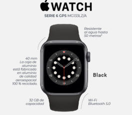 Apple Watch Series 6 (GPS) – 40 mm – Aluminio Gris Espacial MG133LZ/A